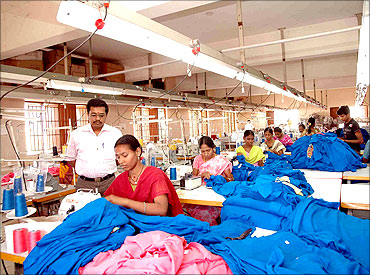Inside a textile factory in Tiruppur in good times.