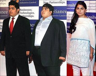 Akash, Anant, Isha Ambani.