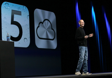 Jobs speaks during an Apple special event.