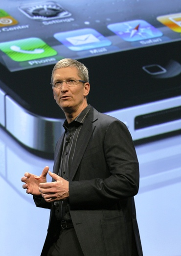 A file photo of Apple CEO Tim Cook speaking during Verizon's iPhone 4 launch in New York.