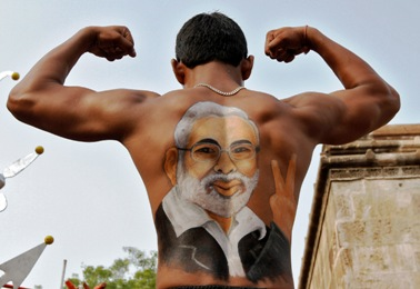 A supporter of Gujarat Chief Minister Narendra Modi during a rath yatra in Ahmedabad