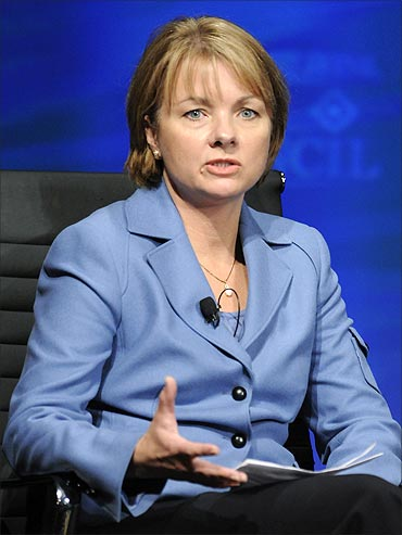 Wellpoint CEO Angela Braly speaks during the 2010 meeting of the Wall Street Journal CEO Council.