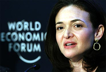 Facebook chief operating officer Sheryl Sandberg speaks during a session at the World Economic Forum