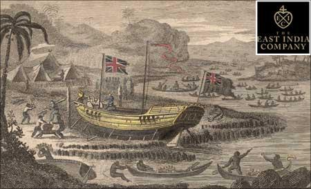 A British East India Company ship. (Inset) East India Company logo.
