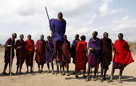 Maasai warriors perform a traditional dance.