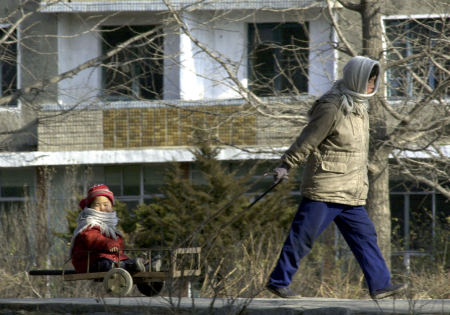 A woman pulls her child in a cart at the North Korean border city of Kaesong.