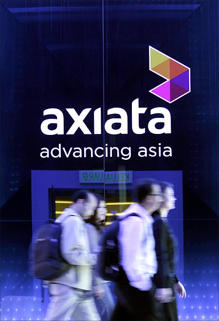An Axiata logo is seen at its headquarters in Kuala Lumpur.