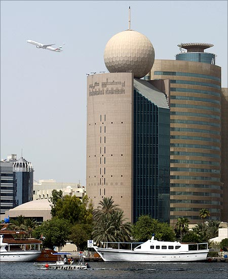 A general view of the building of Etisalat Telecommunications company in Dubai.