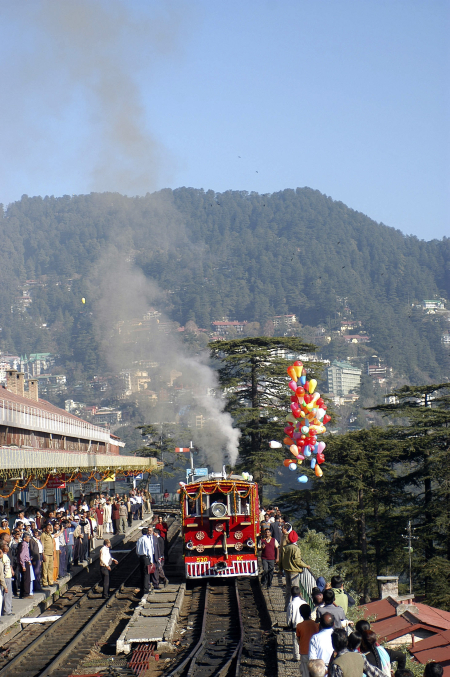 A 103-year-old steam engine runs on the 105-year-old Shimla-Kalka railway track.