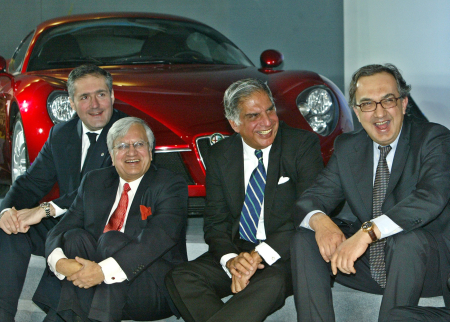 Sergio Marchionne, right, CEO, Fiat; Ratan Tata; Ravi Kant, Managing Director, Tata Motors; and Alfredo Altavilla, CEO, Tofas, in New Delhi.