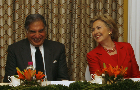 US Secretary of State Hillary Clinton with Ratan Tata in Mumbai.