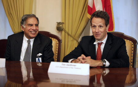 US Treasury Secretary Timothy Geithner with Ratan Tata in Washington, DC.