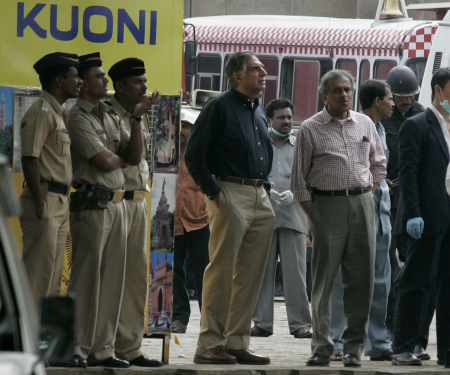 Ratan Tata with R K Krishna Kumar to his left at theTaj Mahal hotel in Mumbai after it was cleansed of terrorists, November 29, 2008