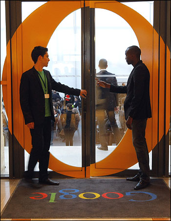 View of the entrance of the new headquarters of Google France.