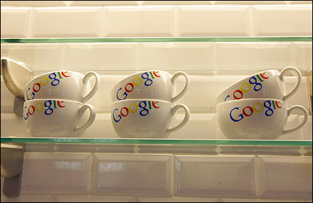 Google bowls are seen in the new headquarters of Google France.