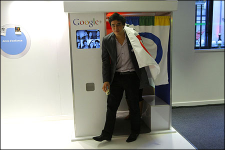 An employee leaves a photobooth.