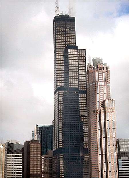 The Sear's Tower rises above the skyline in Chicago, Illinois.