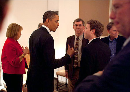 Zuckerberg with President Barack Obama.