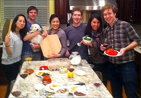 Zuckerberg with his friends.