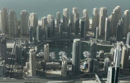 Aerial view of Dubai Marina.