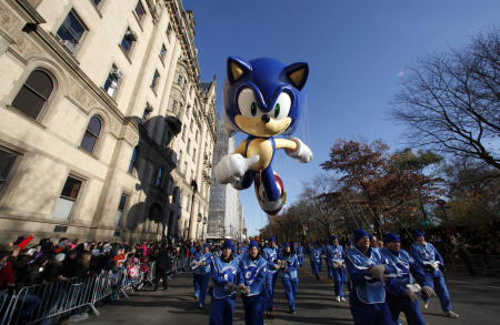 The Sonic the Hedgehog balloon floats down Central Park West during the 85th Macy's Thanksgiving day parade in New York City.