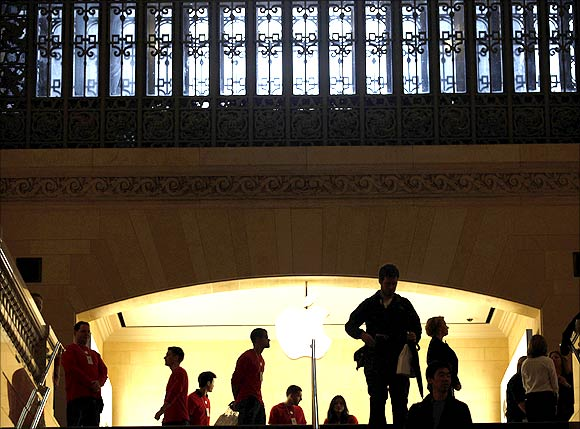 The newest Apple Store is seen atop steps on the East Balcony of New York City's Grand Central Station.