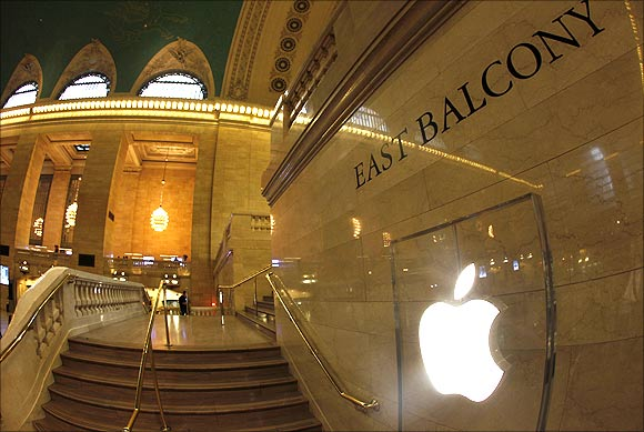 Apple logo is seen on the steps of the East Balcony leading to the newest Apple store in New York.