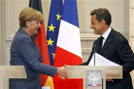 German Chancellor Angela Merkel with French President Nicolas Sarkozy.