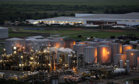 A view of an oil refinery.