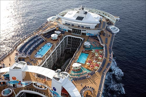 Pools in the ship.