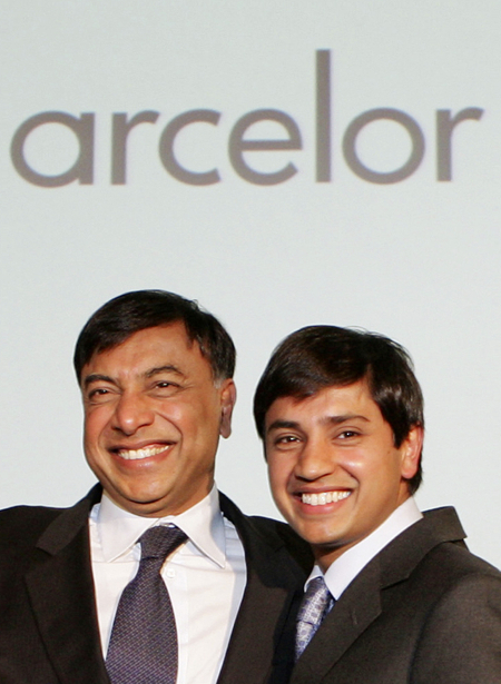 Lakshmi Mittal, Chairman and CEO, Mittal Steel, and his son Aditya, Chief Financial Officer.