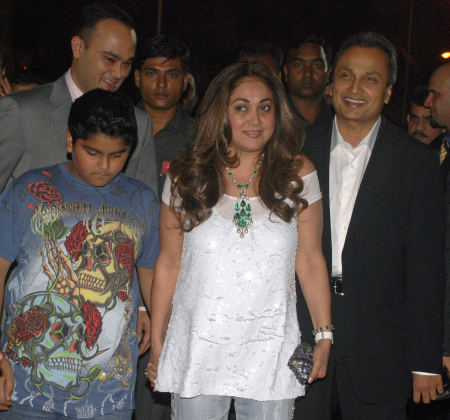 Anil Ambani, wife Tina and son Jai Anshul.