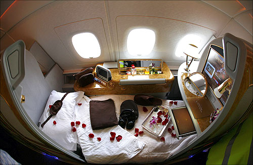 A first class seat is seen on board an Emirates Airbus A380-800.