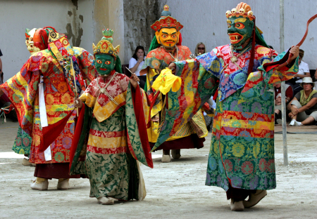 Ladakhi Buddhist monks perform 'chams' during Ladakh festival in Phyang.