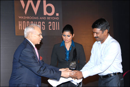 M S Vinod being felicitated.