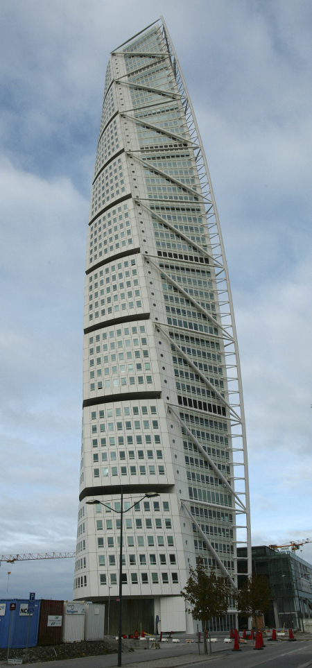 View of the Turning Torso in the western harbour area of Malmo.