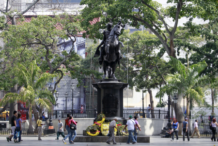 Statue of national hero Simon Bolivar at central Plaza Bolivar Square in Caracas.