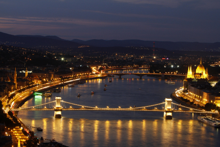 The cityscape of Budapest with the Chain Bridge seen from the Gellert Hill.
