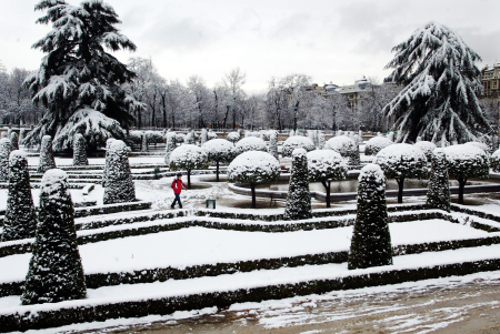 A man walks through a snow covered Retiro park in Madrid.