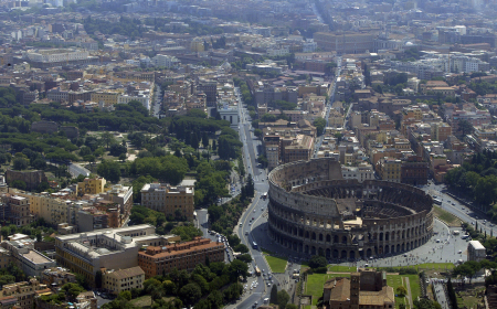An aerial view of the Colosseum in Rome.