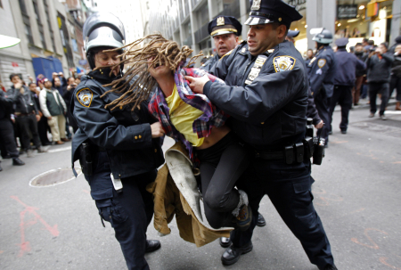 A protestor is arrested at the Occupy Wall Street demonstration in New York City.