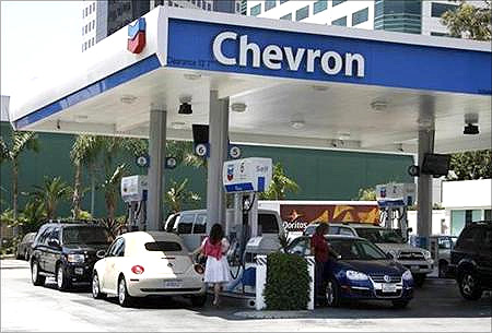Chevron's petrol pump.