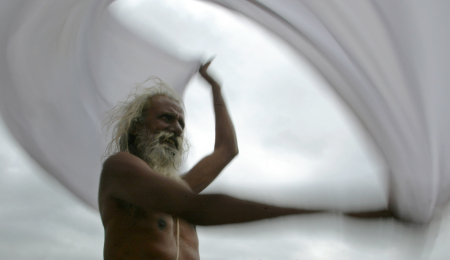 A sadhu dries his robe near Nashik.