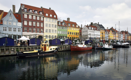 Boats are seen anchored at the 17th century Nyhavn district, home