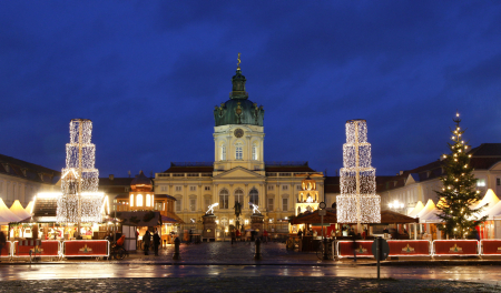 A Christmas market in front of the Charlottenburg castle in Berlin.