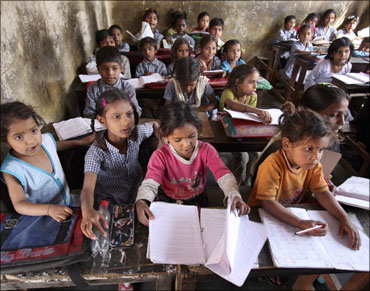 Cildren studying at a school in Bihar