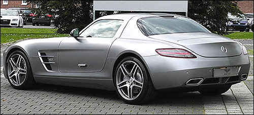 Side-rear view of Mercedes Benz SLS AMG.