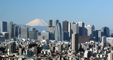 A view of Shinjuku and Mount Fuji taken from Bunkyo Civic Centre.