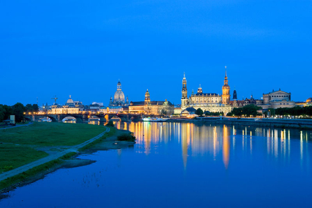 Inner old town at early dusk as seen from the Mary's Bridge in Dresden.