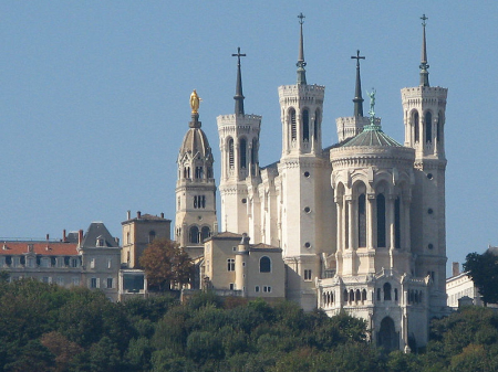 Basilica of Notre-Dame de Fourviere on the hill, Lyon.